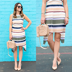 Jenn Lake - Keepsake The Label Stripe Melody Dress, Chanel Vanity Case Bag, Manolo Blahnik Bb Pump, Miansai Screw Cuff Bracelet, Urban Outfitters Round Tortoise Sunglasses - Stripe Pleated Dress