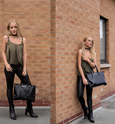 Silver Girl - Asos Satin Cami Top, Giorgio Armani Black Tote Bag, Asos Leather Croc Leggings, Urban Outfitters Leather Choker, Massimo Dutti Leather Ankle Boots, H. Samuel Golden Bracelet - REVIVAL