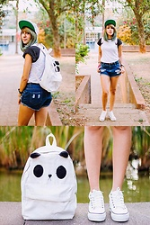 ☽ Lara Kneip ☾ - Rosegal White Sneakers, Rosegal Shorts, Forever 21 T Shirt - Plush Panda