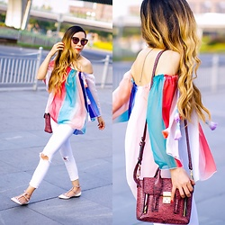 Sasa Zoe - On Sale For Only $11 Rainbow Tassel Top, Jeans, Flats, Bag, Only $50 Sunglasses - RAINBOW TASSELS AND ROCKSTUDS IN LUJIAZUI
