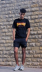 Mohamed Samaras - Thrasher Black T Shirt, Champion Black Short, Nike Air Max 97 - Thrasher