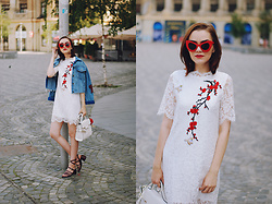 Andreea Birsan - Embroidered Lace Dress, Red Sunglasses, Denim Jacket, White Bag, Strappy Sandals - Lace dress & denim jacket