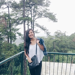 Ana Esguerra - Forever 21 Denim Blazer, Bershka White Lacey Tom, Parisians Black Sling Bag - Into the woods