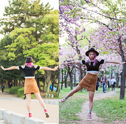Jin Jung - Forever 21 Fedora, Forever 21 Crop Top, H&M High Waisted Skirt, Converse Sneakers - Blossom