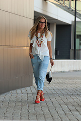 Eniwhere Fashion - Zara White Shirt, Stradivarius Ripped Denim Jeans, Aldo Red Heels, Elite Models' Fashion Eyewear Black Glasses, Furla Minibag - Blue, white and red