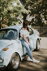 Tonya S. - Urban Outfitters Off The Shoulder Top, Bdg Girlfriend Denim - Hanging on to Summer