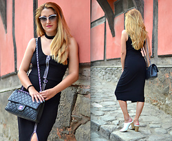 Martina Manolcheva - H&M Skirt, H&M Top, Chanel Bag, Moschino Sunglases, Michel Shoes - Two Piece Outfit And Heels.