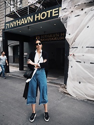 SCHWARZER SAMT - H&M Denim Culotte, Weekday Blouse, H&M Trench Coat, C&A Cross Body Bag, Aldo Platform Sneaker - 71 NYHAVEN HOTEL