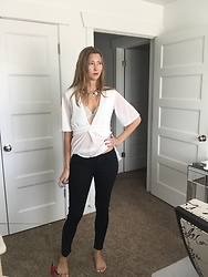 Cindy Batchelor - Glostory Black Denim Skinny Jeans, Amazon White Sheer Wrap Top - A White Wrap Sheer top and Black Denim Jeans