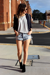 Emily S - One Teaspoon Denim Cutoff Shorts, H&M Navy Blazer, Mollini Black Ankle Boots - Spring!