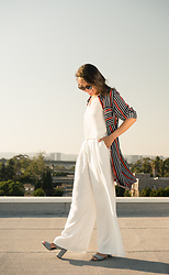 Courtney Y - Topshop Stripe Button Down, C/Meo Collective Wide Pants - Red white blue