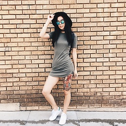 Kerstyn Inouye - Q Fashion Shirt Dress, Tijn Eyewear Reflective Sunnies - Venice