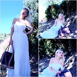 Teresa Morone - Zaful Long Dress, Silvian Heach Maxi Bag - White long dress