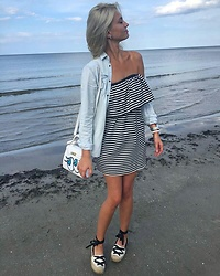 Agate Zirape - Zara Striped Dress, Zara Men Denim Shirt, Pull And Bear Espadrilles - Beach days