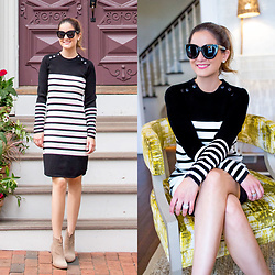Jenn Lake - Rebecca Minkoff Scottie Stripe Crewneck Sweater Dress, Vince Camuto Tan Suede Feina Boots, Quay Sugar And Spice Sunglasses, Kate Spade Crystal Stud Earrings - Black White Sweater Dress