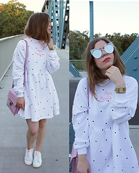 Elaine Hennings - Lazy Oaf Dress, Asos Pink Bag, Aldo Sunglasses, Casio Watch, Adidas Sneakers - Dotted Dress