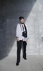 Martijn Maagdenberg - Isabel Marant Grey Fisherman Cap, Polo Ralph Lauren Oversized Striped Shirt, Balenciaga Black/Silver City Bag, Jw Anderson Black Men Flares, Sandro Black Leather Boots - Untitled #42