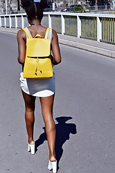 SGTURNINGPOINT.COM - Zara Yellow Backpack, Daniel Wellington Watch, Forever 21 Lazer Cut Leather Skirt, H&M Chunky Heels, Zara White Crop Top - White-On-White
