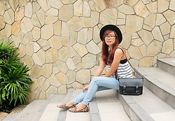 Katrina Enrera - Cotton On Black Hat, Parisian Black Messenger Bag - Stripes and Denims
