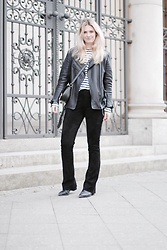 Marie J. - H&M Leather Jacket, Weekday Striped Shirt, Sandro Leather Bag, Utzon Suede Leather Pants, Acne Studios Jensen Boots - Suede Leather Pants
