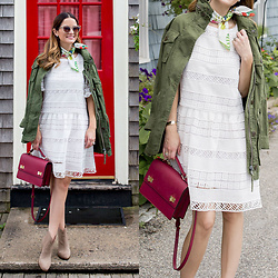 Jenn Lake - Kas New York White Lace Dress, J. Crew Womens Field Jacket, Henri Bendel West 57th School Bag, Vince Camuto Tan Suede Feina Boot, J. Crew Bandana Neck Scarf, Quay Steel Cat Sunglasses - Womens Field Jacket
