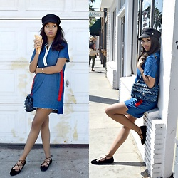 Daphne Blunt - Zara Dress, Lucky Brand Flat Shoes, Chanel Denim Flap Bag, Asos Baker Boy Hat - Baker Boy