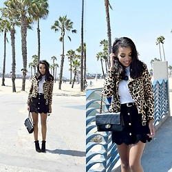 Daphne Blunt - Zara Animal Print Cropped Moto Jacket, Asos Suede Scalloped Button Down Skirt, Chanel Classic Flap Bag, Asos Black And Silver Western Belt, Lace Up Booties, Are You Am I White Cropped T Shirt - California Dream // Lucky Brand