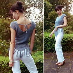 Anoesh N - Modaland Fringe Top, Costes Jade Bracelet, Costes Jade Necklace, Down To Earth Flared Pants - At the Fringe of Autumn