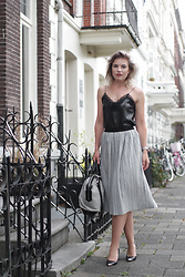 Rowan Reiding - Asos Pleated Midi Skirt, Zara Faux Leather Cami Top Lace Insert, Alexander Wang Emile Tote Bag, Asos Pointy Pumps - PRETENDING TO BE PARISIAN