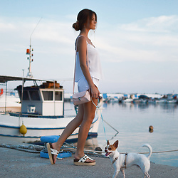 Tamara Bellis - Migato Platform Sandals, New Yorker Pastel Bag, Pink Woman Summer Blouse - Nea Skioni Sea Port