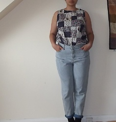 Selina - Self Made Teddy Bear Picnic Top, Topshop Gingham Jeans - £7 jeans in the sale. Bargain