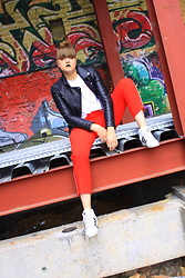 Agata Nika - Zara Biker Leather Jacket, Zara White Tee, Topshop Red Sweatpants, Adidas Wedges - Sporty spice