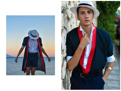 Polyhrones Tatsis - From A Thrift Shop In Serbia Kimono, Zara Hat, Esprit White Shirt, Diy Knive Bracelet - KIM-OH!-NO