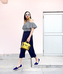 Carrie Tong - H&M Tassel Earrings, Zara Striped Top, Zara Culottes, 3.1 Phillip Lim Pashli Bag, Joie Flats - On the go!