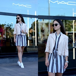 Sofija Lukjanska - Zara Leather Jacket, Reserved Dress, Mango Sneakers, Pull & Bear Sunglasses, Asos Watches - MAC