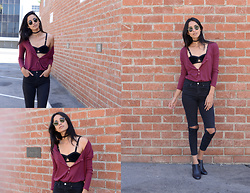 Daftbird LA - Daftbird Top, Solstice Intimates Bralette, Vanessa Mooney Choker, Ray Ban Glasses, Sarto Ankle Boots, Topshop Jeans - Oversized henley