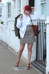 Paige Joanna Calvert - Dorothy Perkins White Blouse, Dorothy Perkins Check Skirt - Autumn