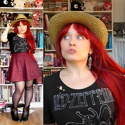 Asu Rocks - H&M Band Shirt, Forever 21 A Line Skirt, Asos Straw Hat, Gioseppo Western Booties - Led Zeppelin