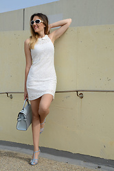 Elisabeth Green - El Corte Ingles White Dress, Suiteblanco Bag, Zara Sandals - White Lace Dress