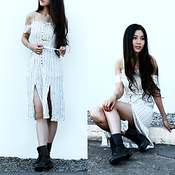 Yuzi Katrina - Steve Madden Combat Boots, Urban Outfitters Off Shoulder Dress - Stripes
