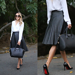 Meghan K. - H&M Button Down, J Crew Pleated Leather Skirt - The Pleated Leather Skirt