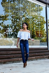 Konstantina Antoniadou - Banana Republic Off Shoulder Top Similar, Ymi Jeans, Jessica Simpson Boots Similar - Blogged! Fallen Leaves