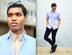 Omiri Thomas - Keinberg, Dr. Martens Dr, H&M Slim Fit Trousers, Urban Outfitters Shirt, Aldo Glasses - STRIPES