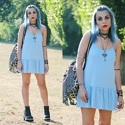 Cátia Gonçalves - Windsor Smith Boots, Parfois Backpack, Zaful Baby Blue Dress - Let there be love