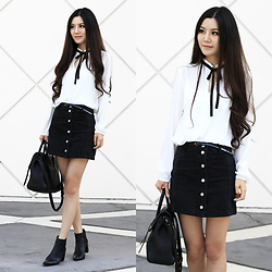 Yuzi Katrina - A Line Skirt, Rebecca Minkoff Leather Bag, Charles By David Booties - Catching the tail-end of summer