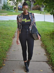 Sushanna M. - Thrifted Vintage Floral Blazer, Thrifted Fresh Prince Of Bel Air Tee, High Waisted Black Jeans, Black Buckled Zippered Ankle Boots - Bel-Air Nouveau