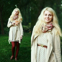 Anastasia Zaprometova - Stradivarius Scarf, Koton Dress, Accessorize Tights, Topshop Boots, Accessorize Belt - Walk in the forest