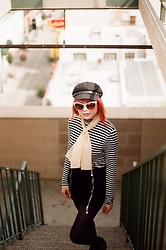 KENDALL SANCHÈZ - Striped Turtleneck, Newsboy Cap, Cat Eye Sunglasses, Black Pantyhose, It's Kendall Kay Style Blog, Visit Me On Instagram - Parking Structure