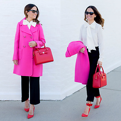 Jenn Lake - Kate Spade Jeweled Button Wool Blend Coat, Kate Spade Bow Detail Silk Blouse, Kate Spade Cuffed Culotte, Kate Spade Montford Park Ashton Leather Satchel, Kate Spade Red Levie Ankle Cuff Pump - Pink Coat Bow Blouse