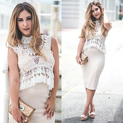 Laura Bustelo -  - LACE TOP & NUDE SUEDE SKIRT PAIRED WITH NUDE BOW HEELS
